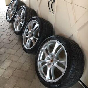 """4 Porsche 21"""" Cayenne Sport Wheels & Tires (MSRP $7590 USD)"""