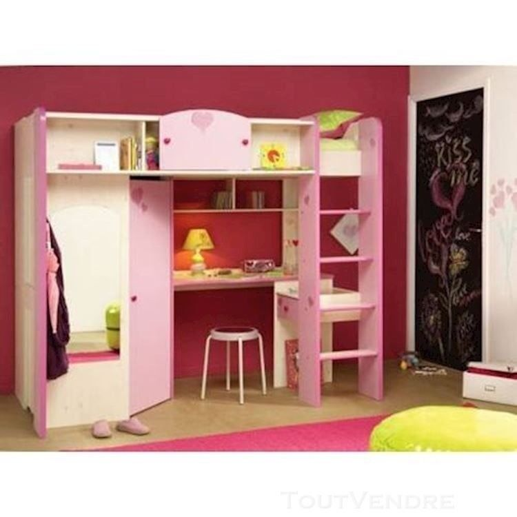 Girls Pink French Bunkstorage Bed Wardrobe Dressing Table