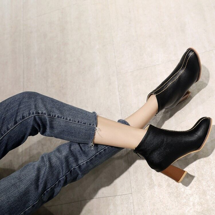 Women Casual Zipper Squared Toe Ankle Boots Block Heels Chelsea Pumps