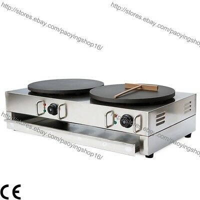 Commercial Nonstick Electric 15.7 40cm Double Crepe Maker Pancake Machine Baker