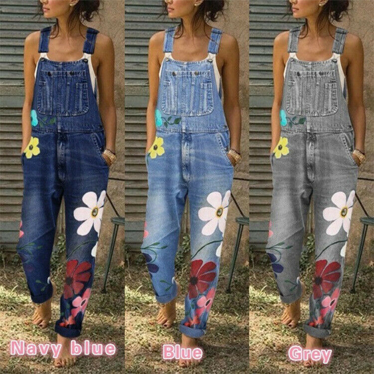 907 Casual Woman Washed Denim Jeans Jumpsuit Flower printed