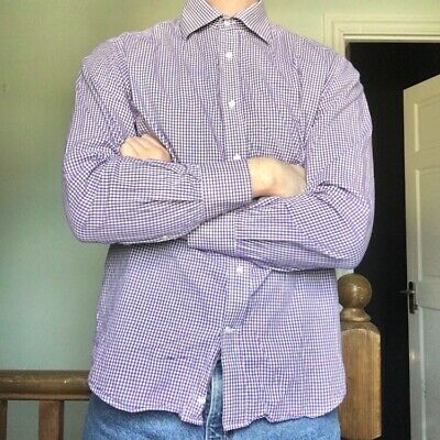 Men's Katharine Hamnett London Purple Checkered Collar Shirt (Medium - 15 1/2)