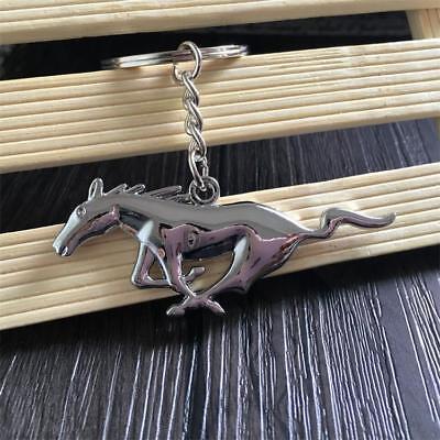 Chrome Metal Keychain Key Ring - Running Pony Horse Key Chain Metal Ring Keychain Key Fob for Mustang New Chrome