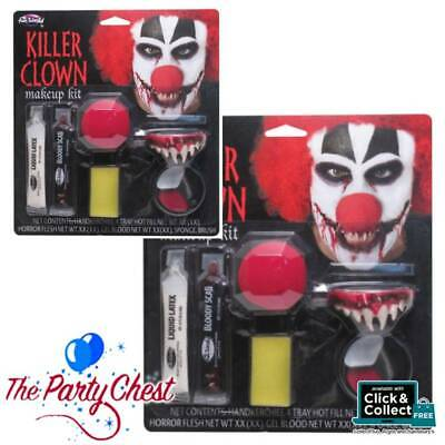 KILLER CLOWN HORROR MAKE-UP KIT WITH TEETH AND BLOOD SCAB Halloween Make-Up 9422