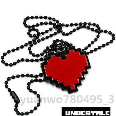 1Pcs Game Undertale Red Heart Necklace Chain Pendant Otaku Cosplay Collection