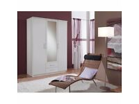 SAME / NEXT DAY FAST DELIVERY!! BRAND NEW GERMAN 3 DOOR OSAKA WARDROBE IN WHITE AND WALNUT