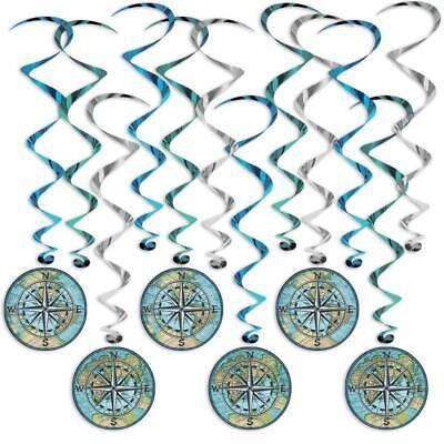Nautical Hanging Decorations (Bon Voyage World Map Nautical Compass Hanging Whirl Decorations Nautical)