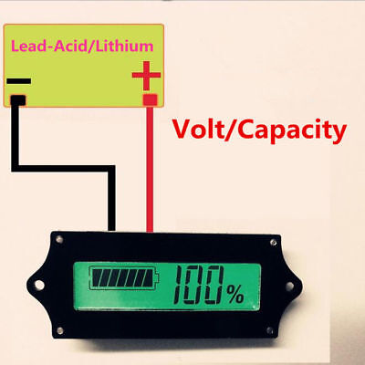 12V 24V 36V 48V 8-70V LCD Lead Acid Lithium Battery Capacity Indicator Voltmeter
