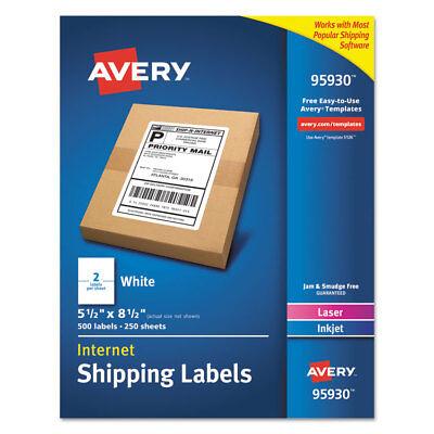 Avery White Shipping Labels Laserinkjet 5 12 X 8 12 White 500box 95930