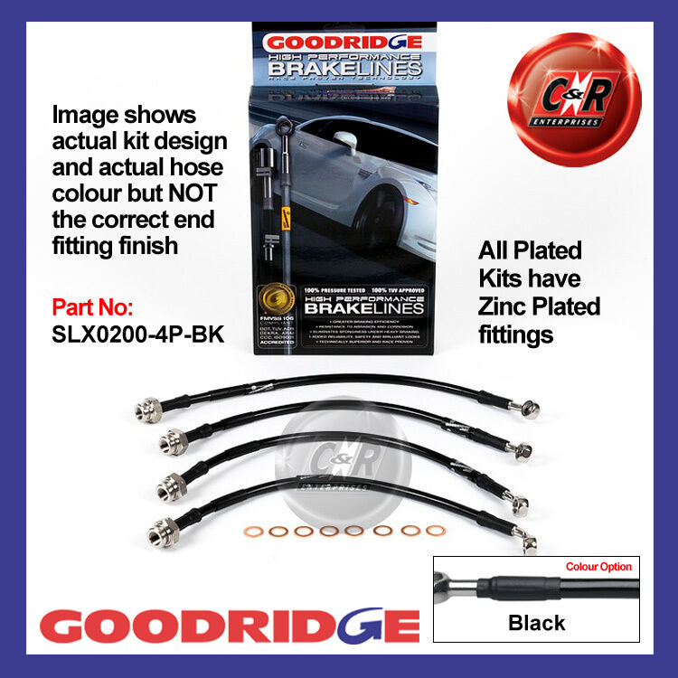 Lexus IS200 99 on Goodridge Zinc Plated Black Brake Hoses SLX0200-4P-BK