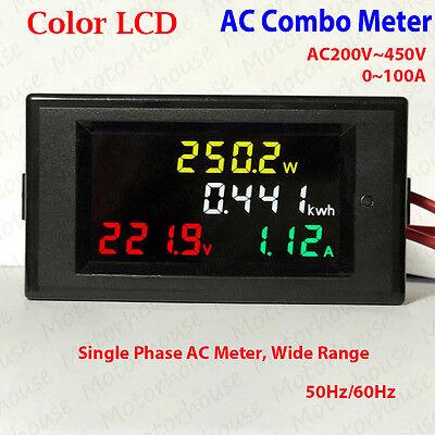 Ac Volt Meter 220v 240v 450v Amp 100a Digital Lcd Voltmeter Watt Kwh Combo Meter