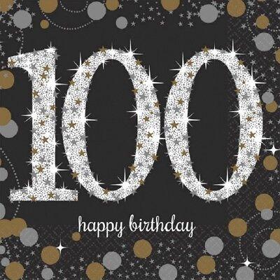 100th Small Beverage Napkins Sparkling Celebration Birthday Party - 100th Birthday Party Decorations