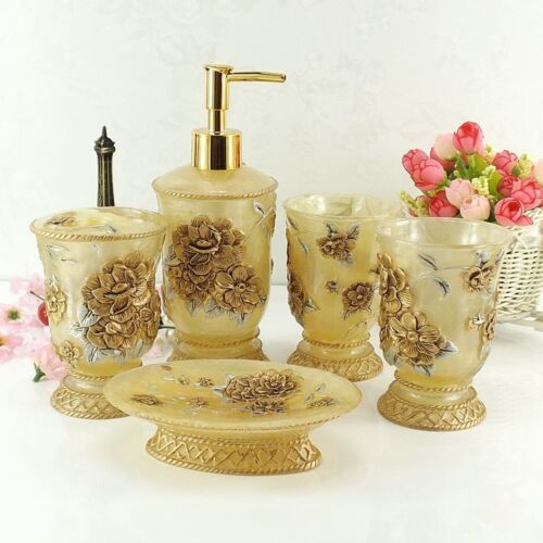 New Resin Flower Carving Bath Decor Accessories Set Soap Dish Toothbrush 5pcs Ebay