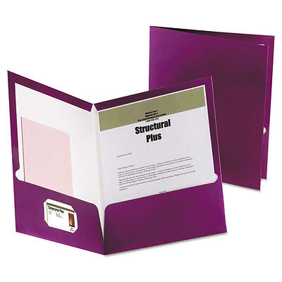 Oxford Two-pocket Laminated Folder 100-sheet Capacity Metallic Purple