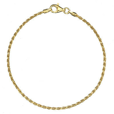 18K Gold over .925 Silver 1.7mm Italian Diamond Cut Twisted Rope Chain -