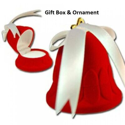 Gift Box Bell Velvet Flocked Red Ornament 2 58 Inches Christmas Holiday Nwt