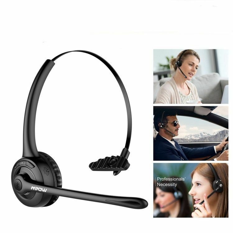 For Truck Driver Noise Cancelling Wireless Handsfree Bluetooth Boom Mic Headset Ebay