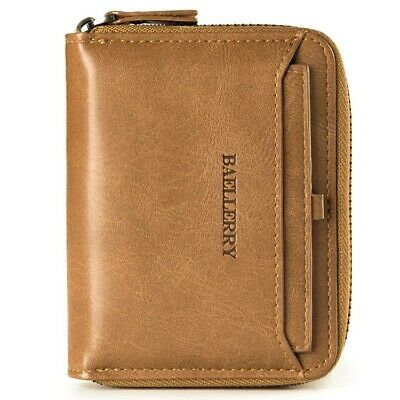 Men's Leather Bifold Credit ID Card Holder Wallet with Zipper Coin Pocket Purse Billfold Credit Card Holders