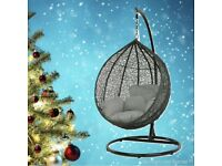 Brand new Single black or white egg hanging chair in black