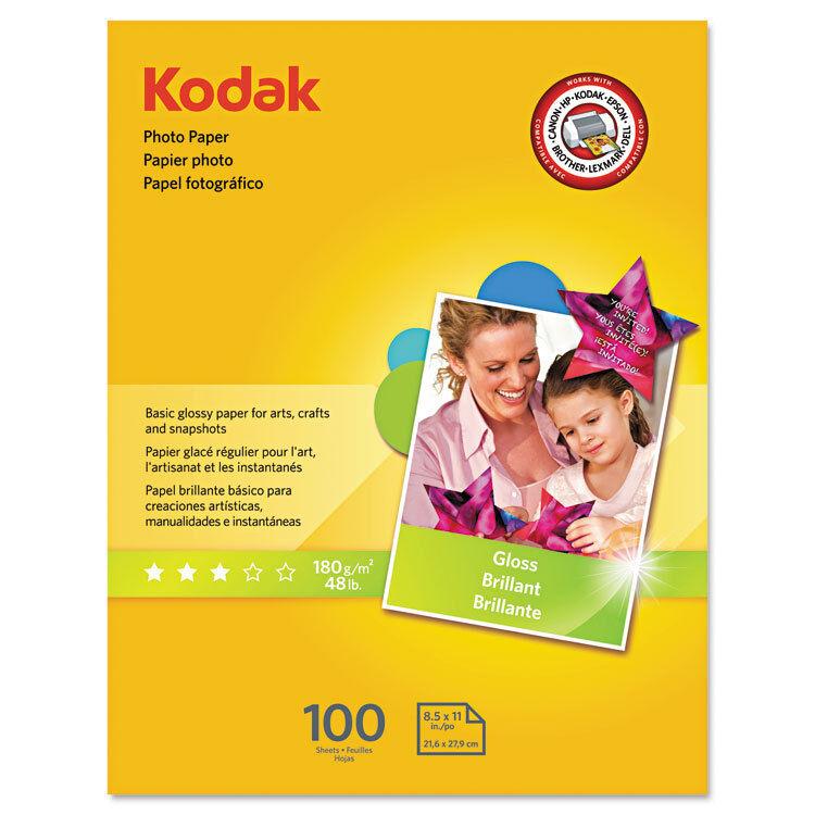 Kodak Photo Paper 6.5 mil Glossy 8-1/2 x 11 100 Sheets/Pack 8209017