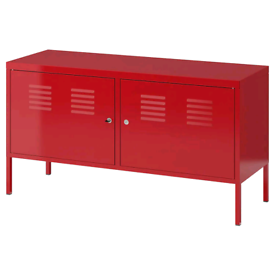 Red IKEA PS range metal cabinets