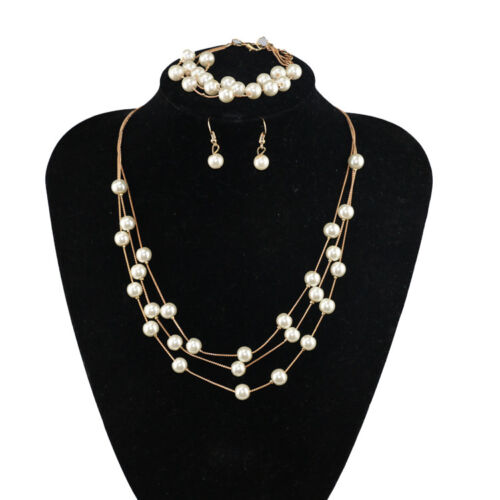 3 Piece Fashion Pearl Jewelry Set - Necklace, Earrings and Bracelet