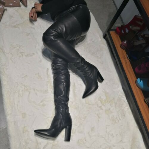 Over The Knee Leather Heel Boots