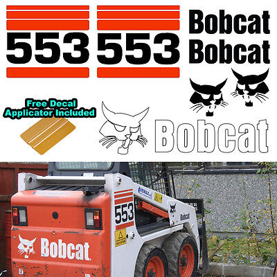 Bobcat 553 Skid Steer Set Vinyl Decal Sticker Sign 7 Pc Set Decal Applicator