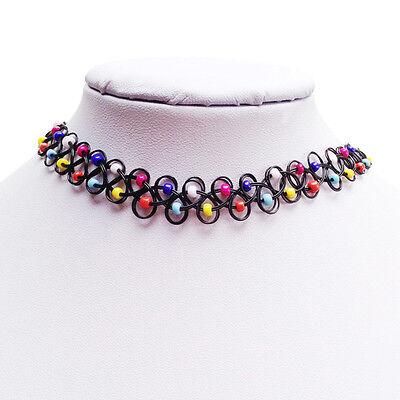 Retro Rainbow Beads Tattoo Choker Elastic Necklace Pendant Grunge 90s Fashion