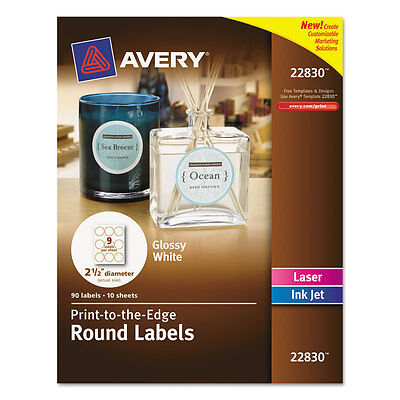 Avery Round Print-to-the-edge Labels 2 12 Dia Glossy White 90pack