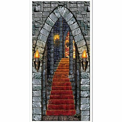 Castle Entrance Door Cover - 76 x 152 cm - Medieval Party Halloween - Halloween Entrance Decorations