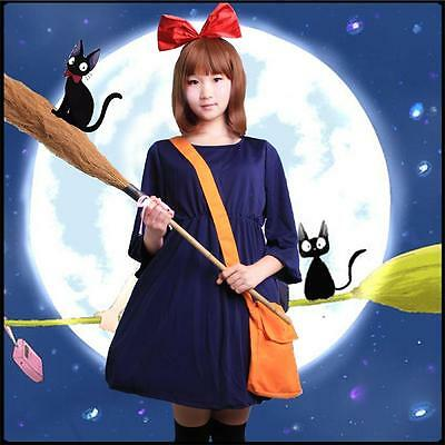 New Costumes Cosplay Kiki's Delivery Service Cute Dress Bowknot HeadBand Bag