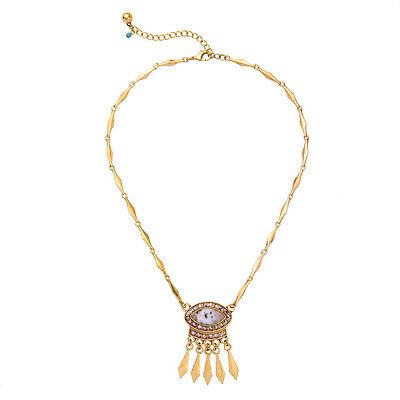 Arrow Head Fringe Nature White Stone Pendant Necklace Bone Chain Vintage Gold
