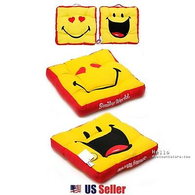 Emoji Seat Cushion Yellow Smiley Face Decorative Cushion with Handle : Red - Smiley Face Cushion