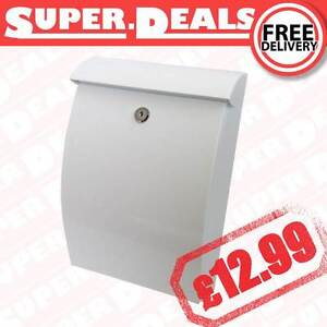 WHITE LETTER BOX EXTERIOR LOCKING Letterbox Secure Mail Box Post Box Fixtures