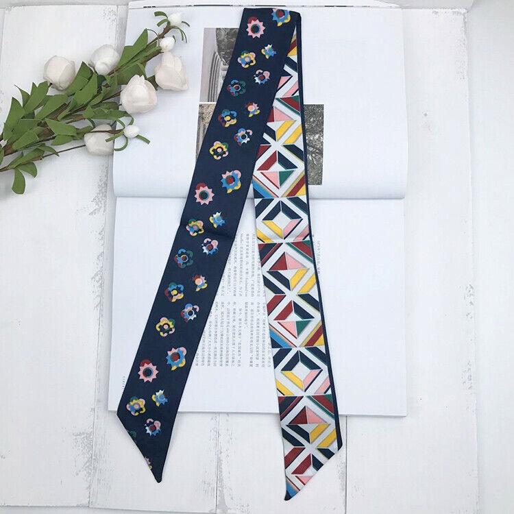 Floral Pattern Dark Blue Silk Twilly Scarf Long Bowtie Handb