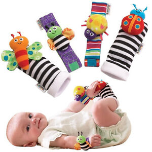 Infant Baby Lamaze Garden Bug Foot Finder and Wrist Rattle Set of 4