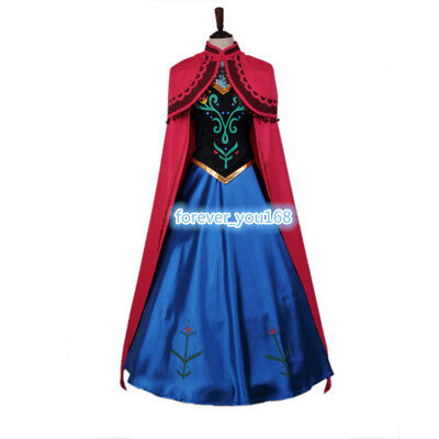 Adult Anna Dress with Cloak Women's Party Cosplay Halloween Stage Costume Frozen - Halloween Adult Parties