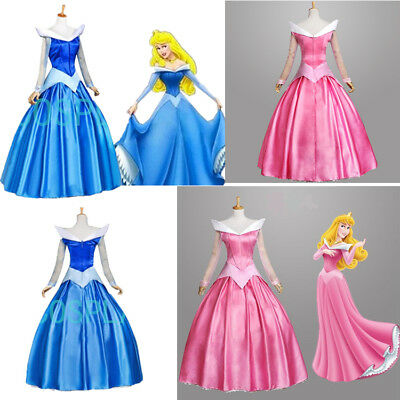 Aurora Dornröschen Sleeping Beauty Kleid Frauen Dress Karneval Cosplay Kostüm ()
