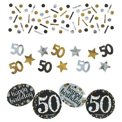 50th Confetti Milestone Birthday Silver Gold Sparkling Glitter Party - 50th Birthday Milestone