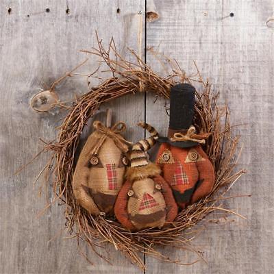 New Primitive Fall Halloween BURLAP JACK O LANTERN Pumpkin Twig Wreath - Fall Halloween Wreaths