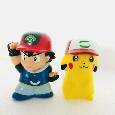 Ash & Ash Hat Pikachu Pokemon Nintendo Bandai 2 Toy Figures Set Bundle f