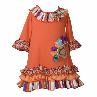 NWT Bonnie Jean Thanksgiving Turkey Fall Unique Party Holiday Dress Girls Size 5](Unique Girl Dresses)