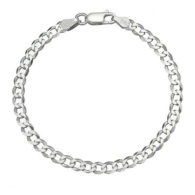 Solid 925 Sterling Silver Men's Italian 7mm Cuban Curb Link Chain Bracelet ()
