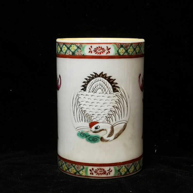 "4.3"" Good Chinese Official Ware Famille Rose Porcelain Crane Grain Brush Pots"