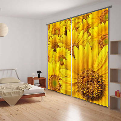Vivid Glod Sunflower  3D Customize Blockout Photo Curtain Print Home Window Deco