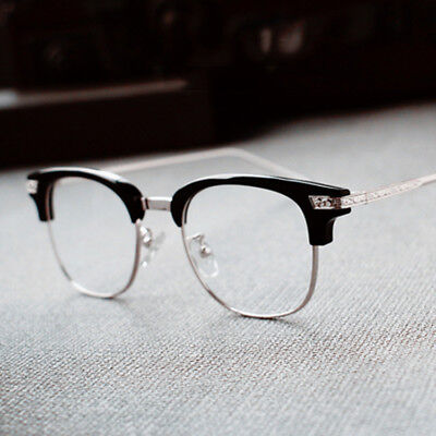 Retro Vintage Half Rimless Eyeglass Frames WOmen Men Glasses RX Eyewear (Engraved Glass Frames)
