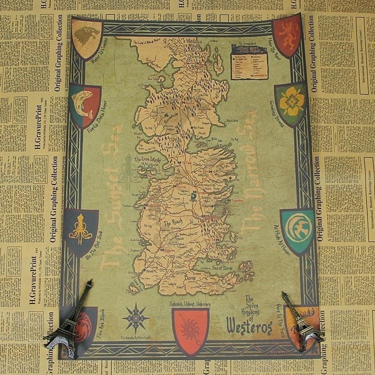 Game of Thrones Retro World Map Kraft Paper Movie Poster Vin