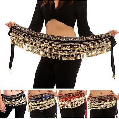 Belly Dance Costume Golden Coins Dancing Hip Scarf Wrap Belt Velvet Skirt belts - Costume Belts