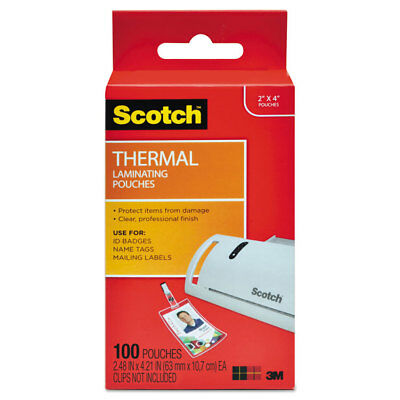 Scotch Id Badge Size Thermal Laminating Pouches 5 Mil 4 14 X 2 15 100pack